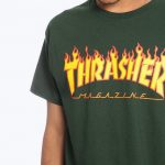 photo du tshirt thrasher flame logo forest green